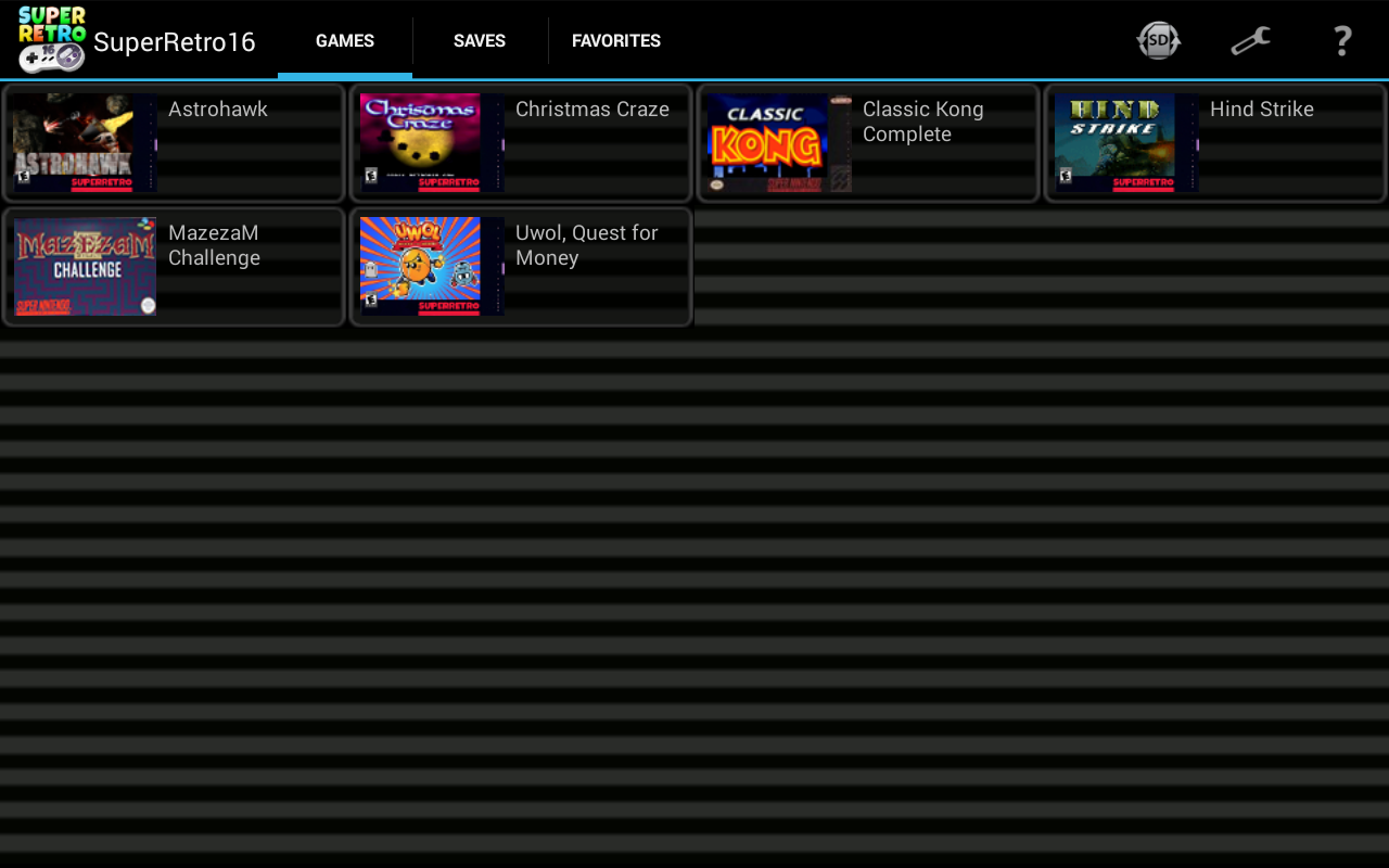 SuperRetro16 Lite (SNES) 1.8.4 Screen 1