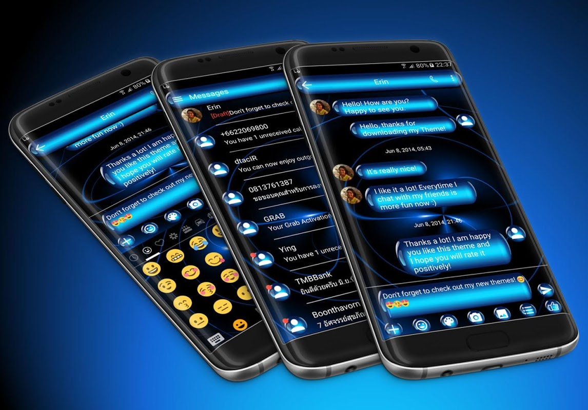 SMS Messages Spheres Blue Theme 6.0 Screen 1