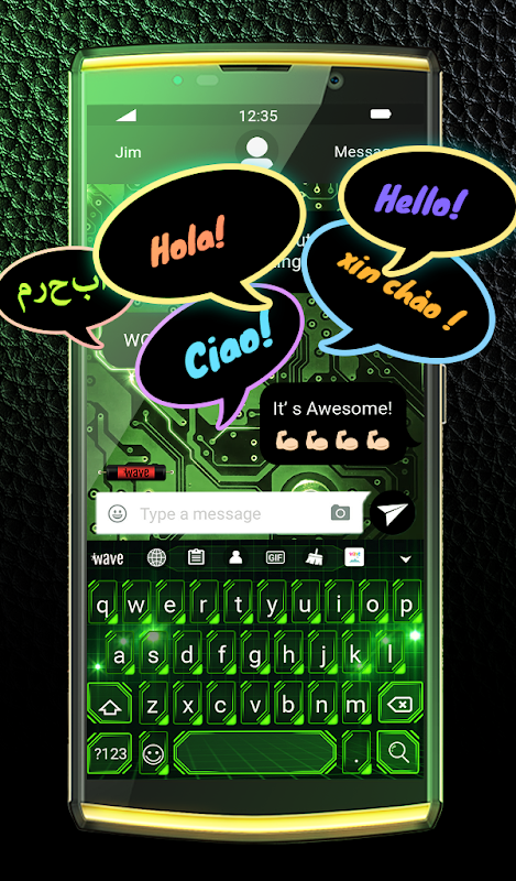 Android Green Light Animated Keyboard + Live Wallpaper Screen 3