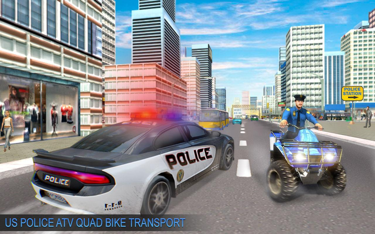 US Police Moto ATV Quad Bike Transporter Game 1.0 Screen 1