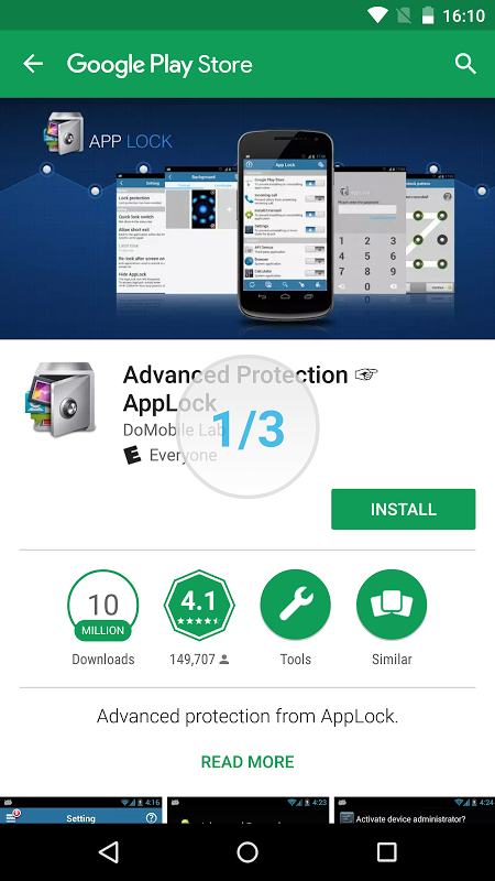 Advanced Protection ☞ AppLock 1.7 Screen 4