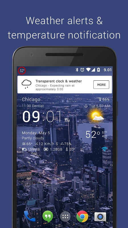 Android Transparent clock weather Pro Screen 12