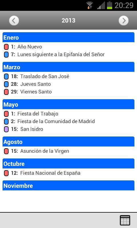 Android Calendario Laboral Screen 1
