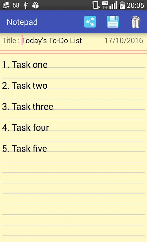 Notepad 1.6 Screen 1