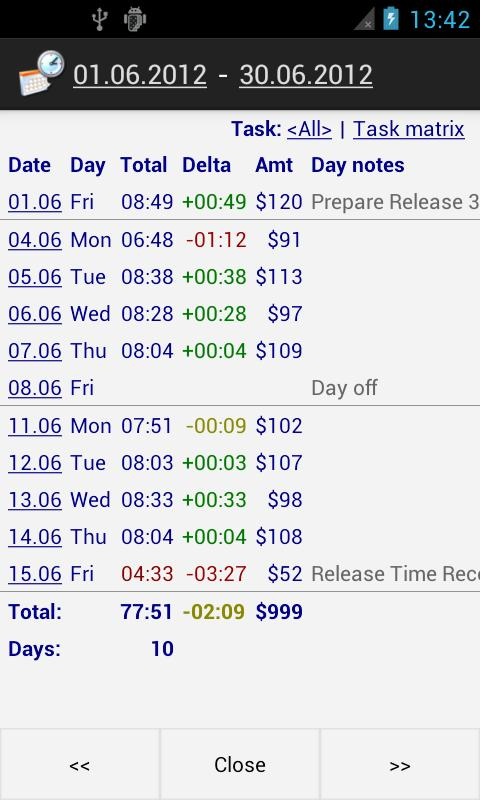 Time Recording - Timesheet App 5.08 Screen 2