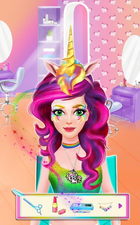 Android Unicorn Rainbow Makeover - Dress up & Makeup Game Screen 1