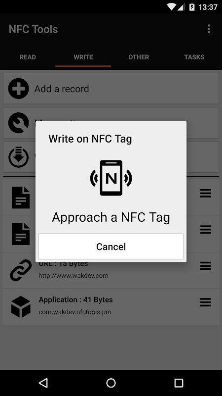 Android NFC Tools Screen 4