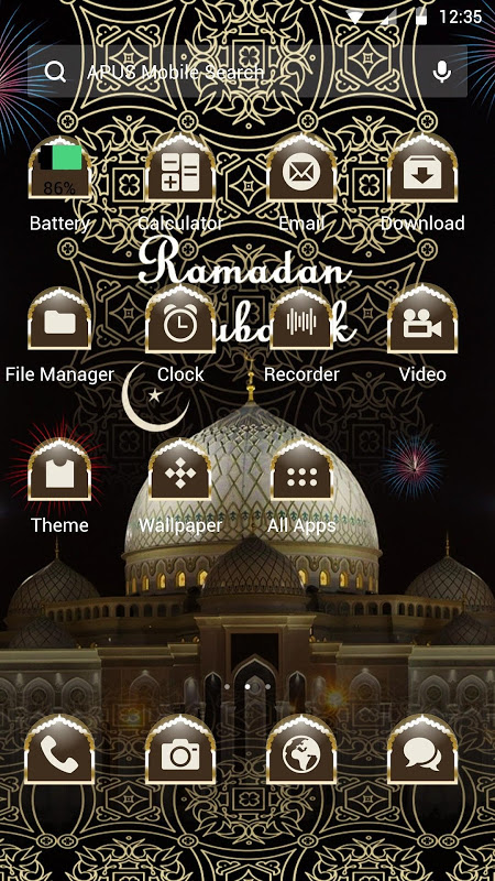 Android Ramadan-APUS Launcher theme Screen 1