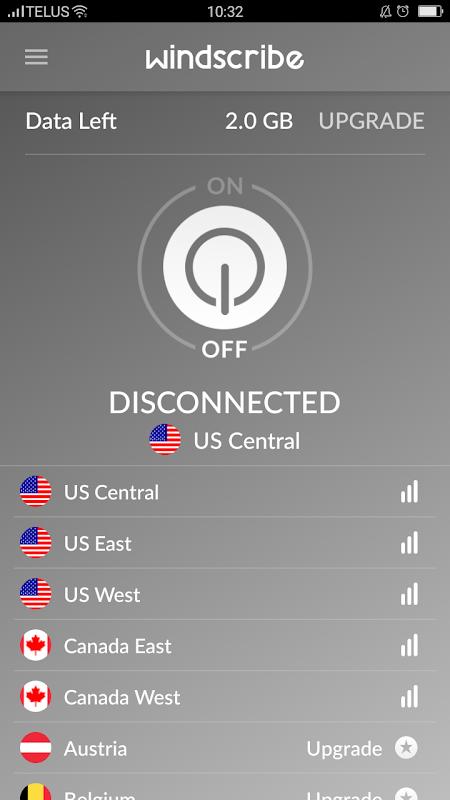 Windscribe VPN 2.0.1 Screen 1
