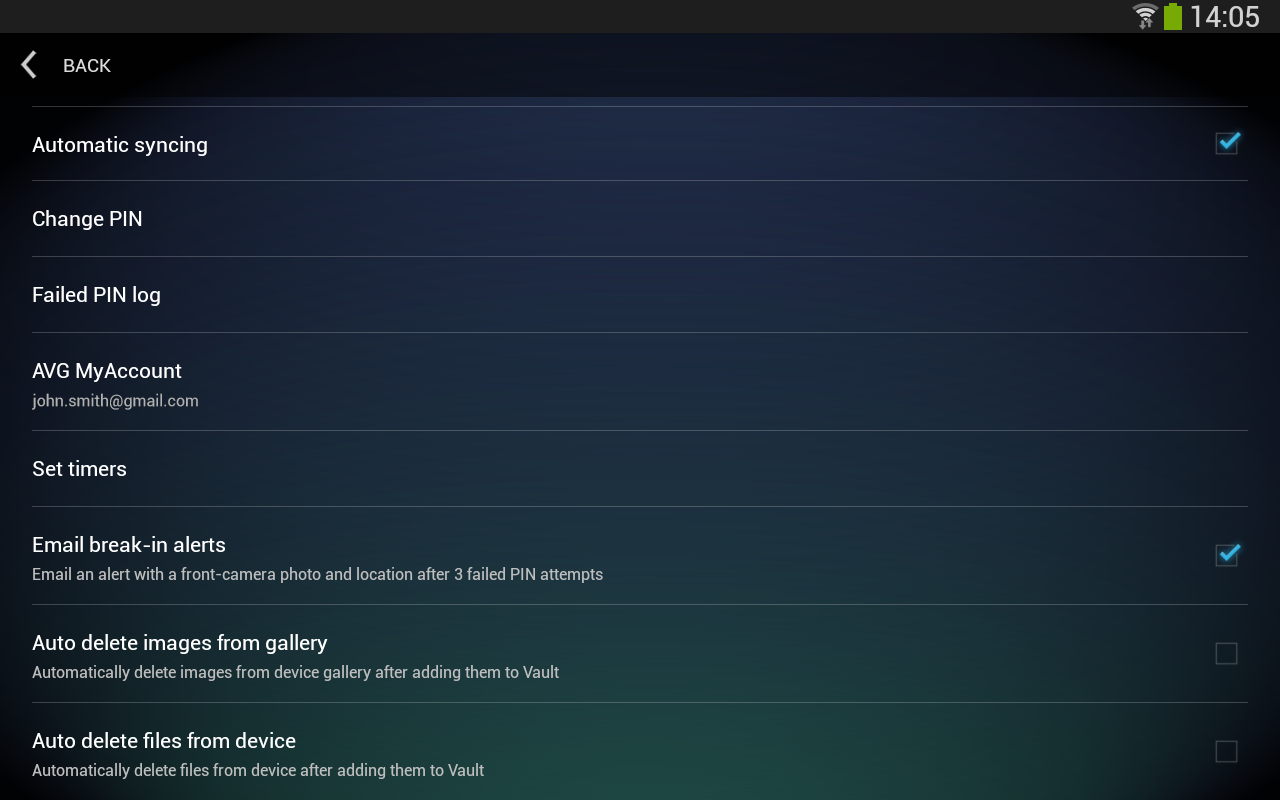 Android AVG Vault Screen 5