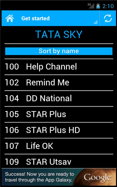 Android DTH Television Guide India Screen 2
