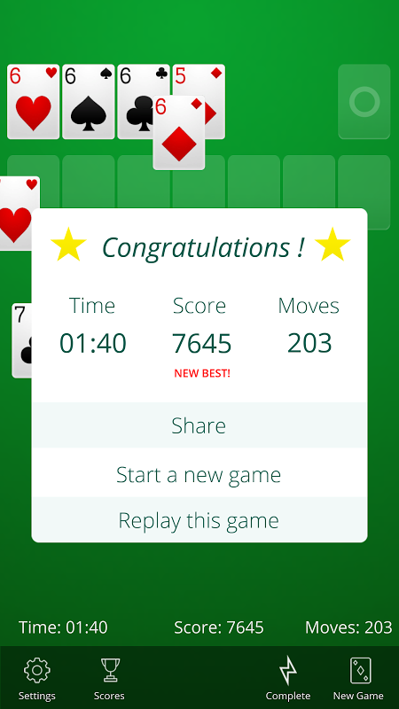 Android Solitaire Screen 7