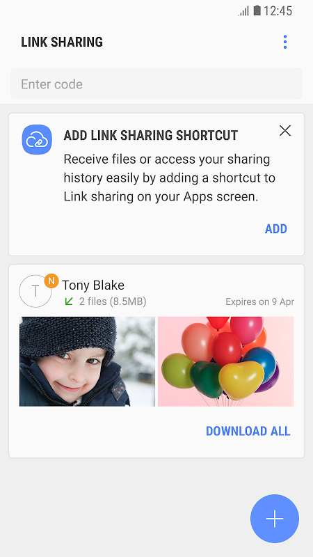 Android Link Sharing Screen 1