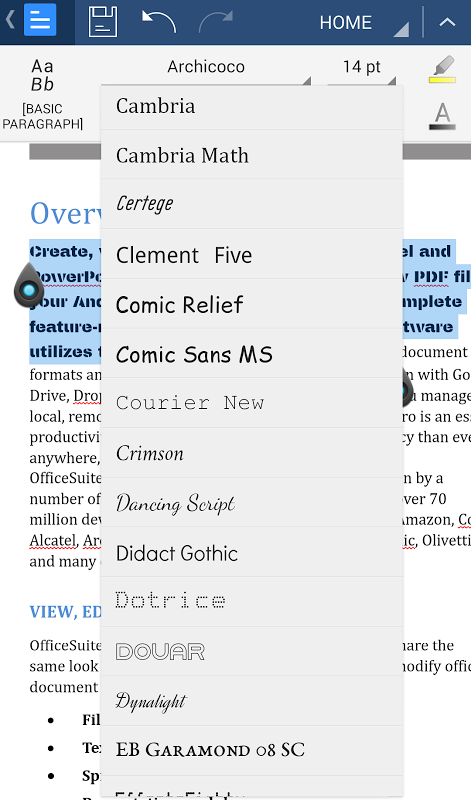 Android OfficeSuite Font Pack Screen 7