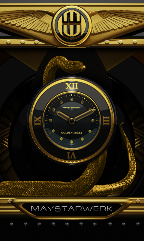 Android Gold Snake Clock widget Screen 1