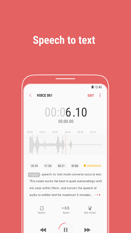 Android Samsung Voice Recorder Screen 2