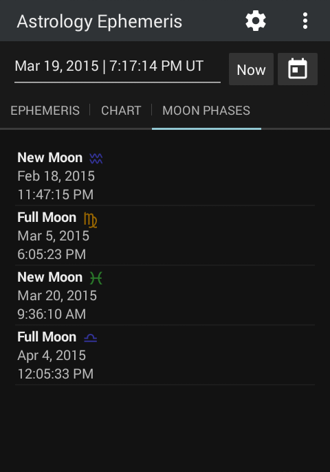 Astrology Ephemeris 0.5 Screen 4
