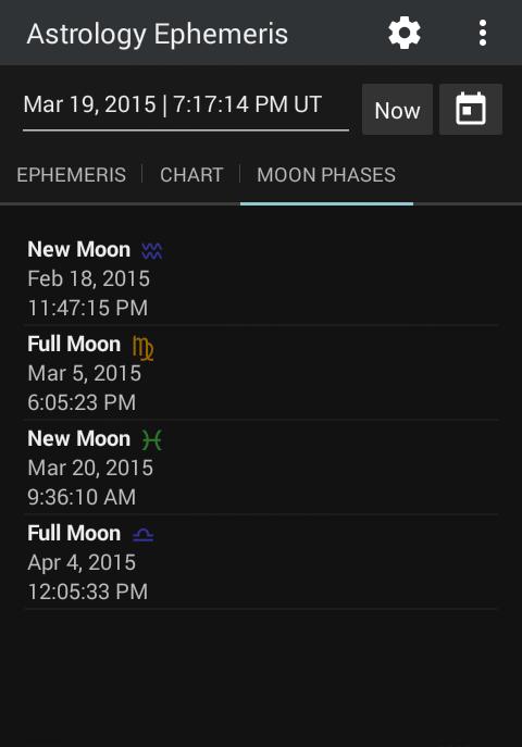 Astrology Ephemeris 0.5 Screen 4