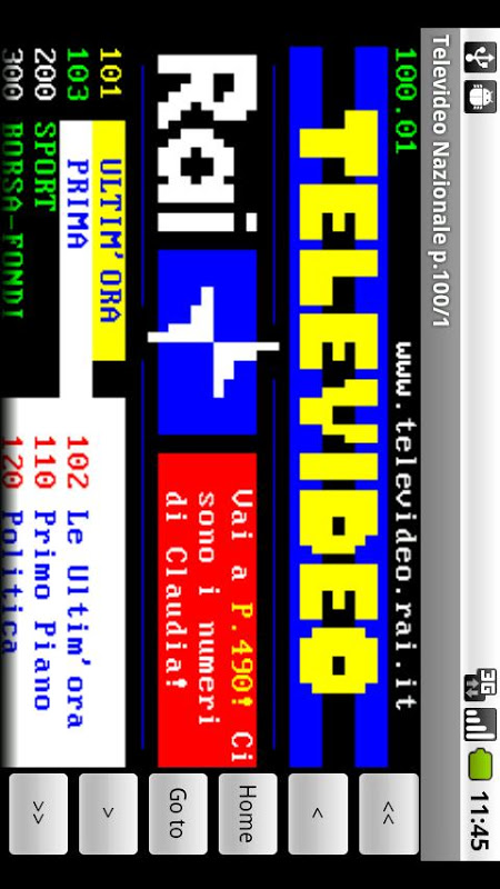 Italian Teletext 2.2.0 Screen 1