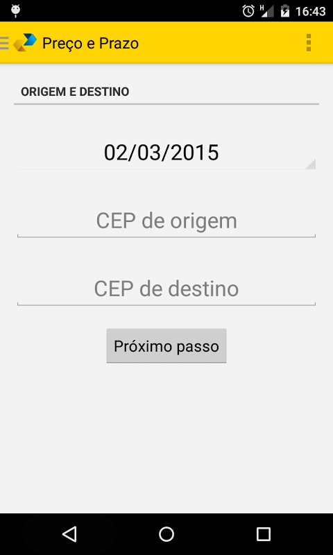 Android Cálculo Preço e Prazo Correios Screen 2