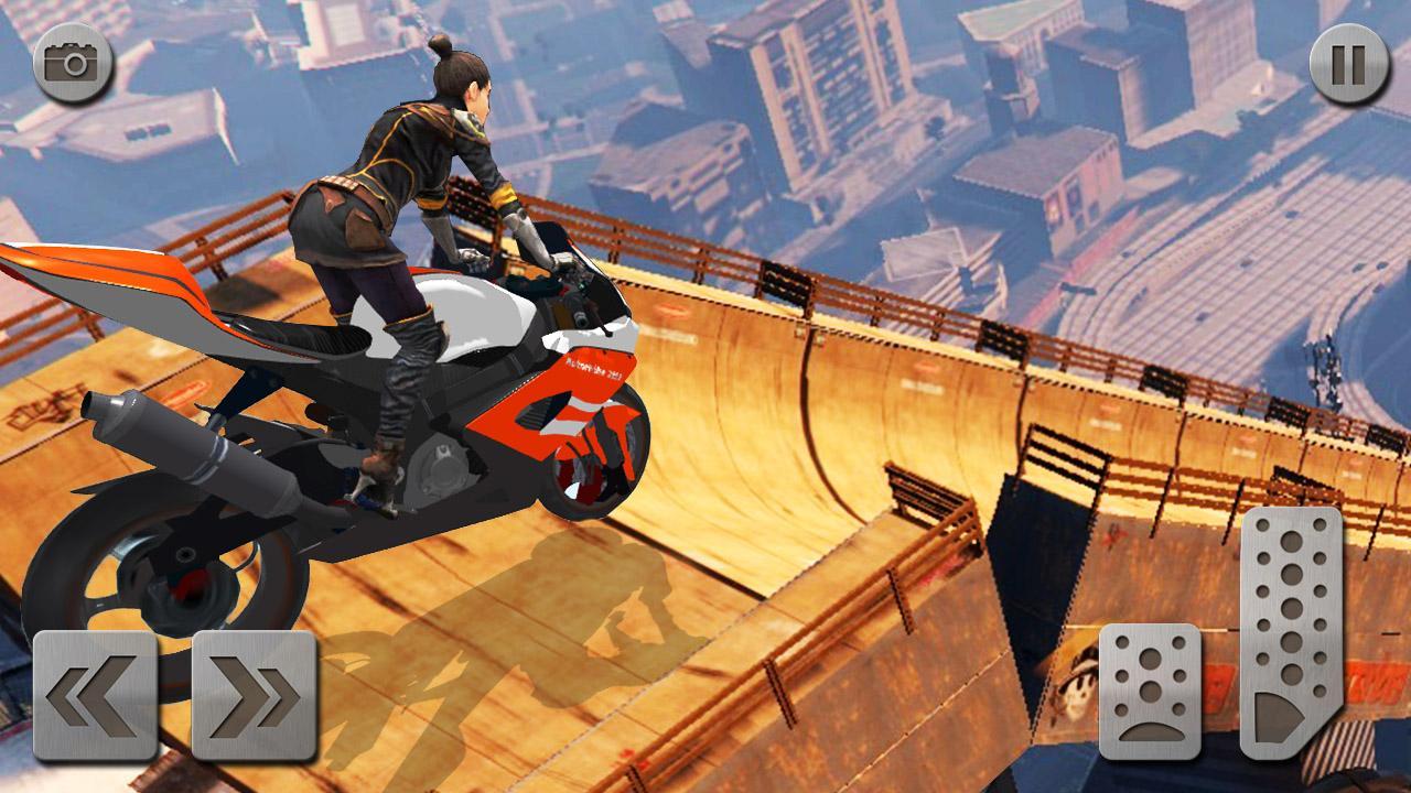 Android Impossible Mega Ramp Moto Bike Rider: Superhero 3D Screen 3
