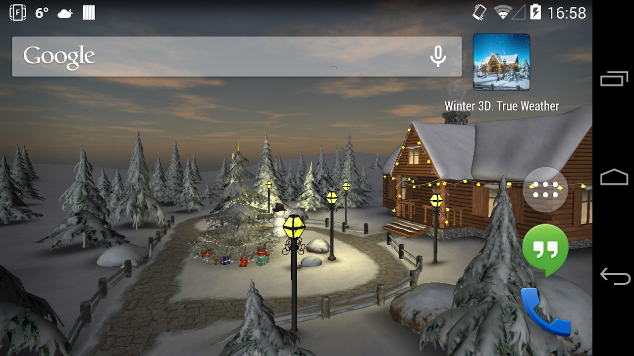 Android Winter 3D, True Weather Screen 5