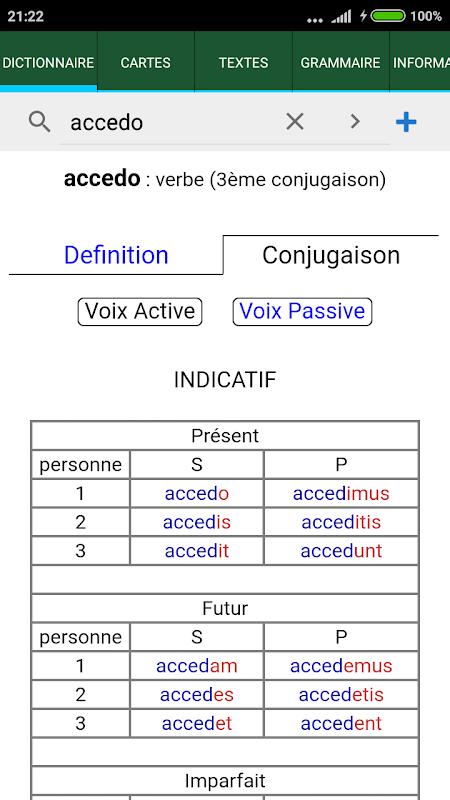 Android Tabula : Dictionnaire latin Screen 1