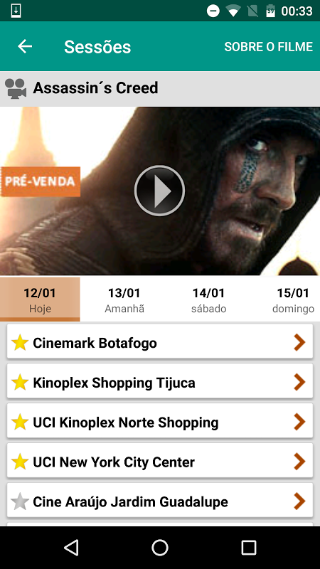 Android Ingresso.com Screen 1
