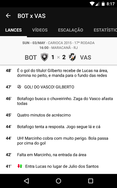 Android Vasco SporTV Screen 3
