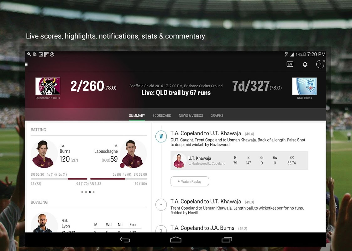 Android Cricket Australia Live Screen 1