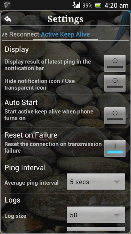 Connection Stabilizer Booster 1.9.4 Screen 3