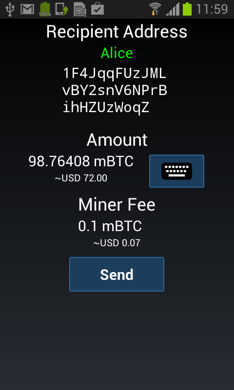 Android Mycelium Bitcoin Wallet Screen 2