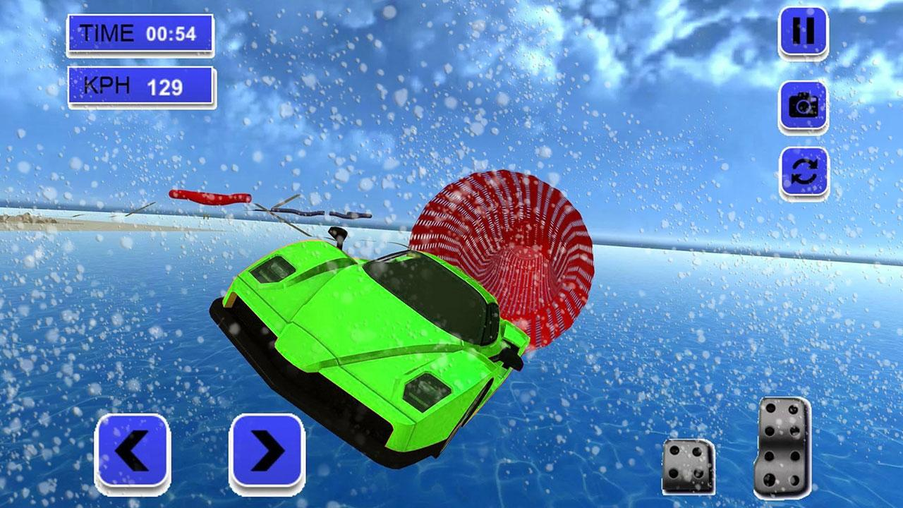 Android Extreme Rooftop Winter Snow Car Racing City Stunts Screen 2