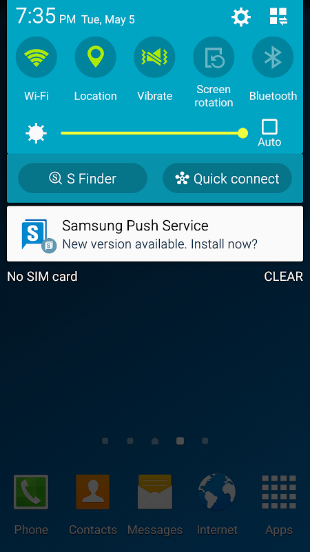 Android Samsung Push Service Screen 1