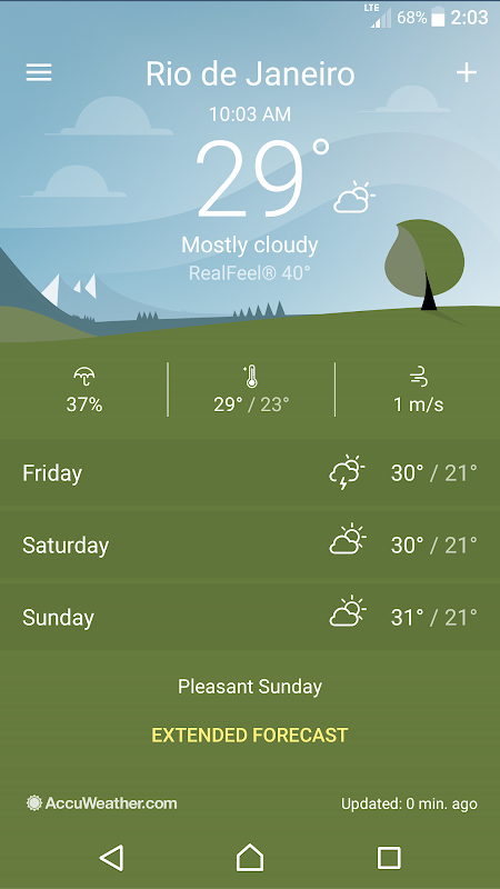 Android Sony Weather Screen 2