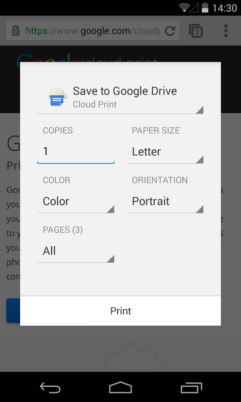 Cloud Print 1.11b Screen 2