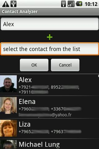 Android Contact Analyzer Screen 1