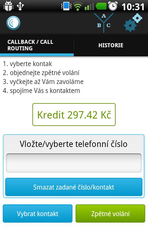 Android Odorik callback Screen 1
