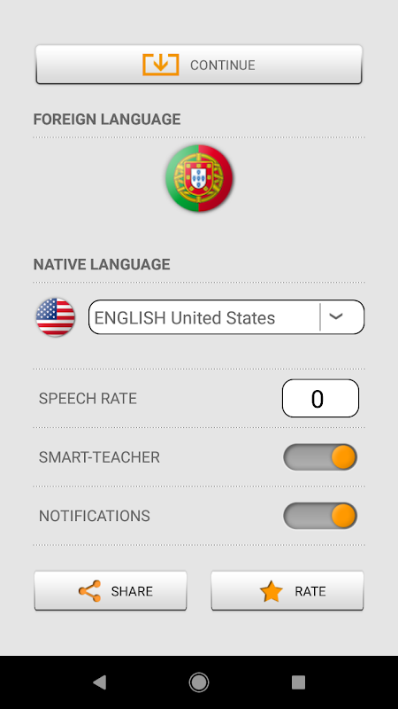 Android Learn Portuguese words with Smart-Teacher Screen 5