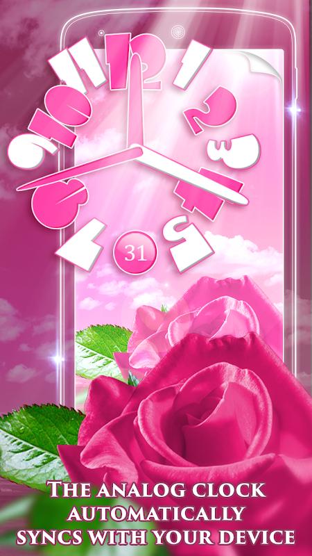Pink Rose Clock Live Wallpaper 3.0.2 Screen 5