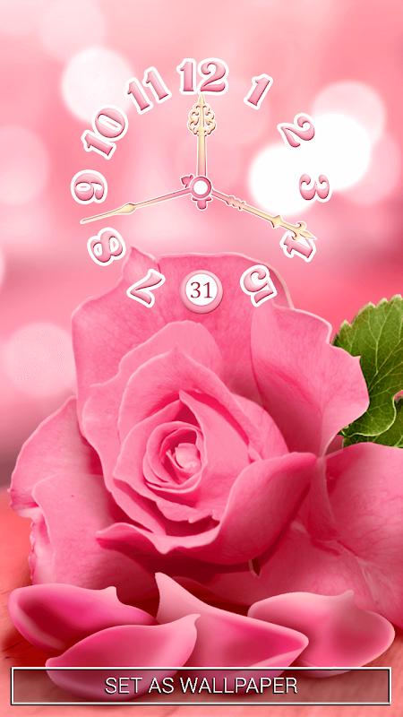 Pink Rose Clock Live Wallpaper 3.0.2 Screen 3