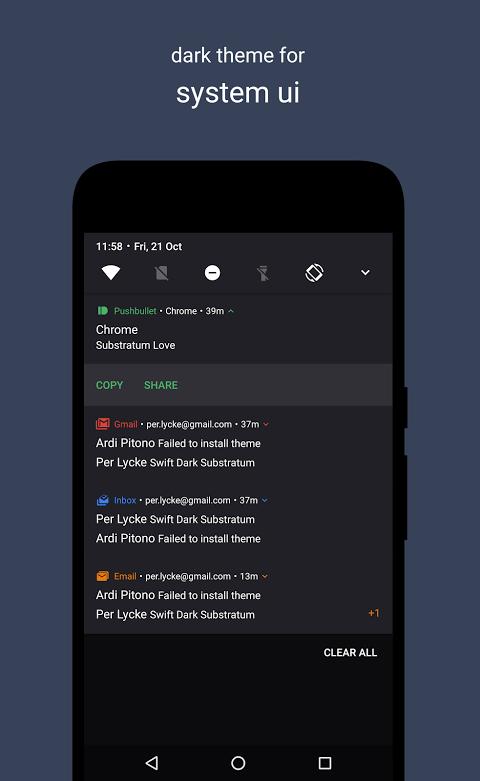 Swift Dark Substratum Theme +Oreo & Samsung theme 11 6 APK Download