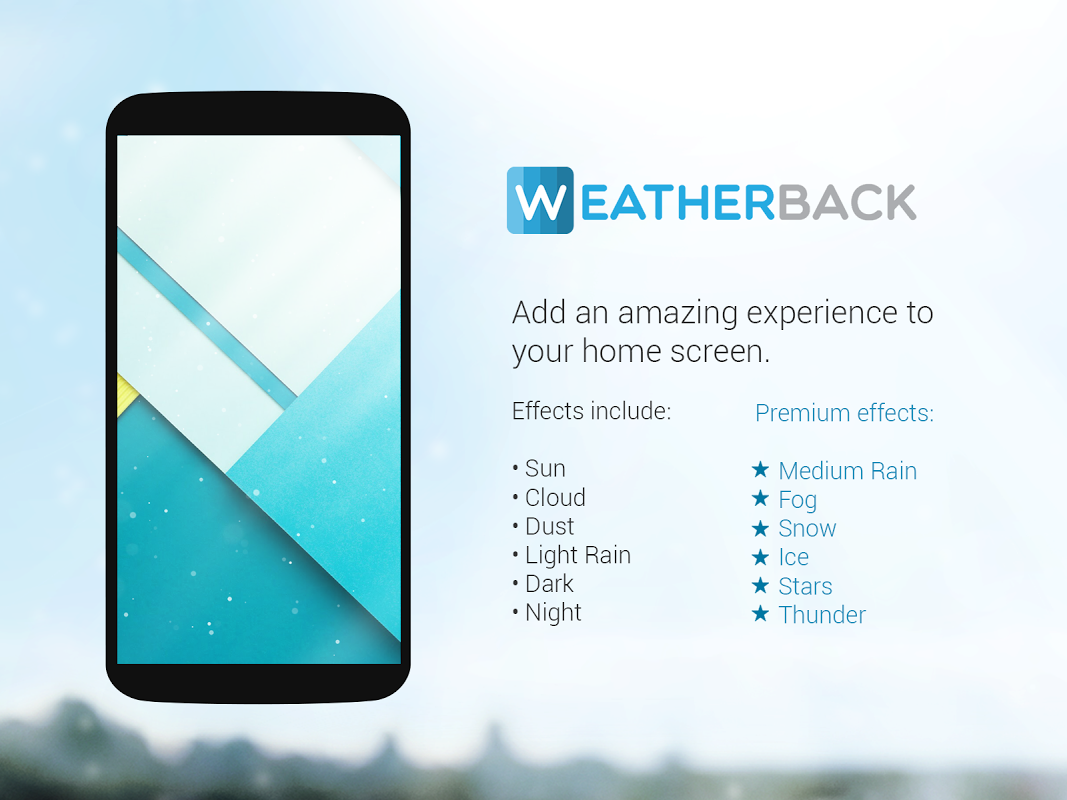 Android Weather: Weatherback, Effects on your homescreen Screen 1