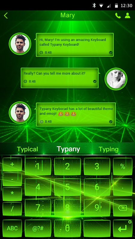 Android Green Light Typany Keyboard Screen 1