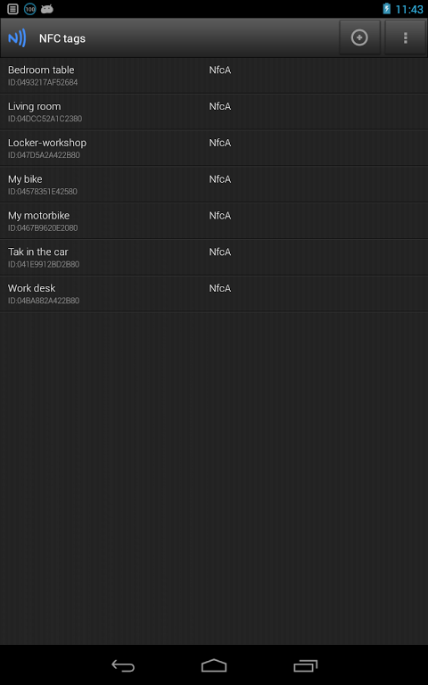 Android NFC Profiles for SVC (tags) Screen 1