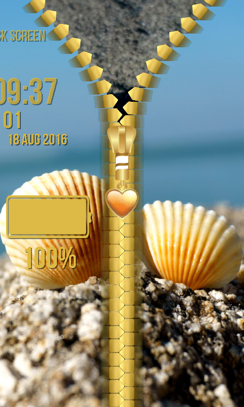 Android Seashells Zipper Lock Screen Screen 4