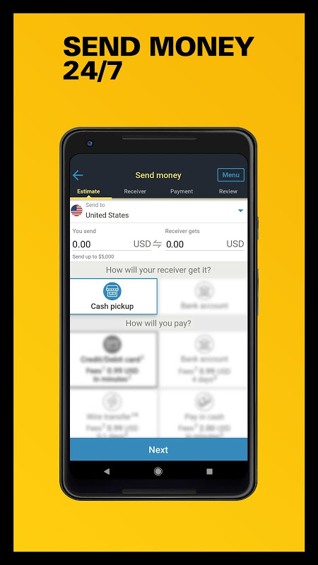 Western Union US - Send Money Transfers Quickly 6.0 Screen 1