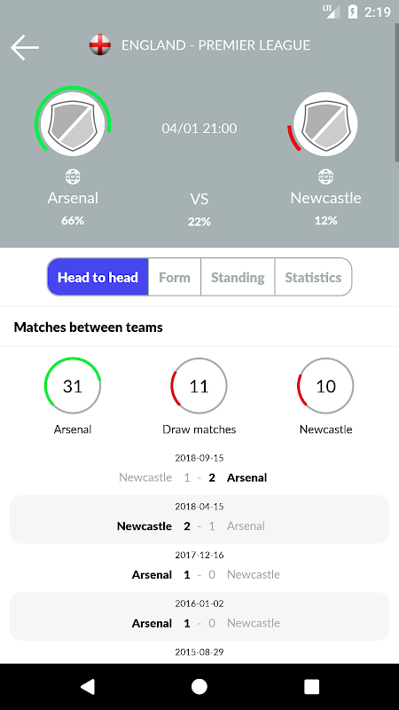 Soccer Predictions 2.2.3 Screen 4
