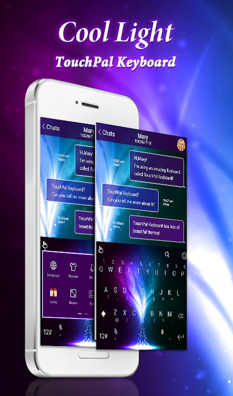 Android Blue Cool Light Keyboard Theme Screen 5