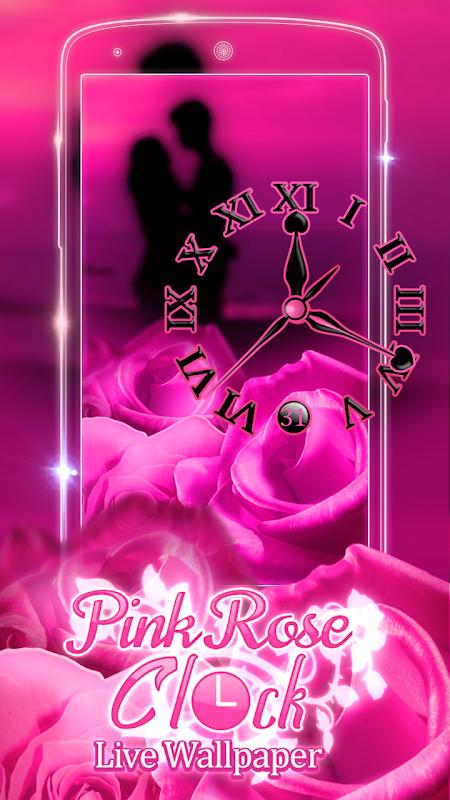 Pink Rose Clock Live Wallpaper 3.0.2 Screen 1